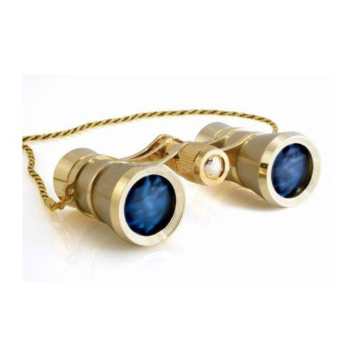 Milana Optics Opera Glasses Concert W/ Chain - Titanium Finish With Golden Rings