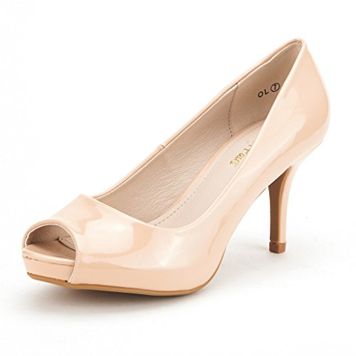 DREAM PAIRS OL Women's Elegant Open Toe Classic Low Heel Wedding Party Platform Pumps Shoes NUDE PAT SIZE 7.5