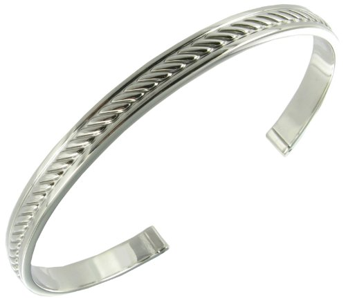 Rochet Roma Silver Tone Cable Solid Stainless Steel Classic Cuff Bracelet