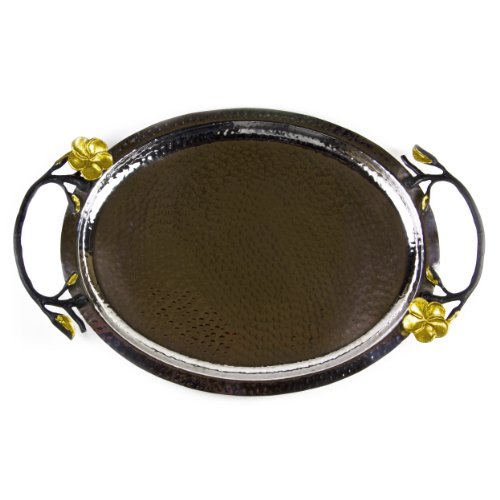 Hammered Stainless Steel Oval Tray With Black And Gold Brass Frangipani Handles