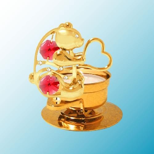 24K Gold Plated Bear Holding a Heart Tea-Light..... With Red Swarovski Austrian Crystal