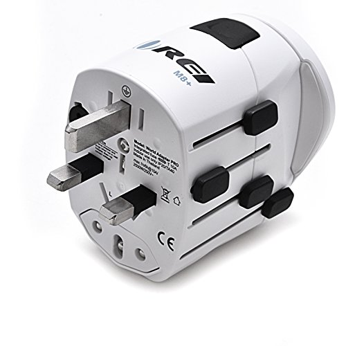 Orei M8 Plus All-in-One Grounded International Worldwide Travel Plug Adapter with Dual USB Charger – Retail Packaging – White