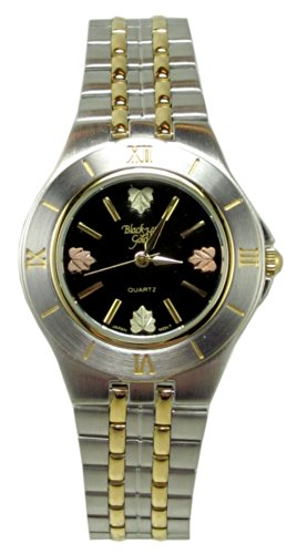 Mens Black Hills Gold Watch with Stainless Steel Band 12K Leaves Black Face (Coleman Mens Watch compare prices)