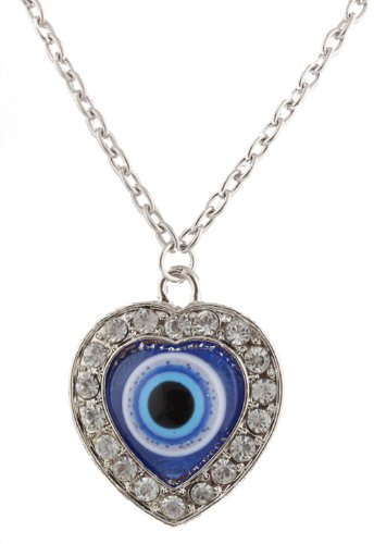 Ladies Silver with Clear & Blue Iced Out Heart Infused with Evil Eye Style Pendant with an 32 Inch Fitted Link Chain Necklace with Matching Stud Earrings Jewelry Set