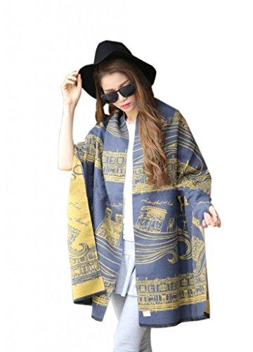 Hellopretty Women'S Cashmere Wool Luxurious Eiffel Tower Print Shawl Scarf Jean Blue 210Cm*60Cm+3Cm