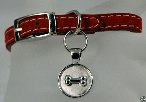 Lisa Welch Red Suede Bracelet Sterling Silver Bone on Round Disc
