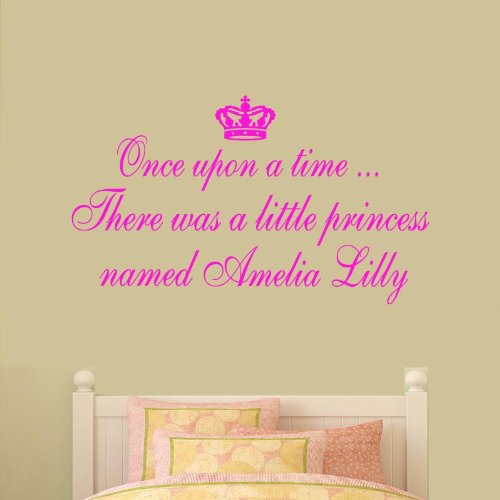 (Large) Once Upon A Time Personalised Name Princess Bedroom Quote Vinyl Wall Art Decal Sticker Large 14 Colours Available ***Please Message Us With Name & Colour***