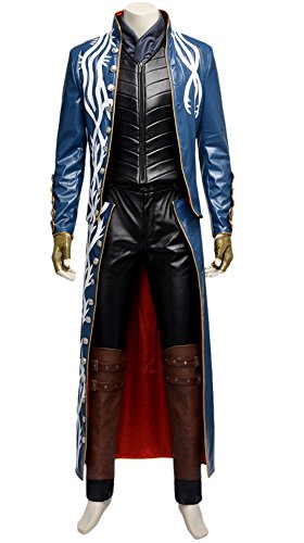 [Adult Halloween Deluxe 1:1 Devil May Cry Vergil Costume Outfit Full Set (Custom Size)] (Devil May Cry 3 Costumes)