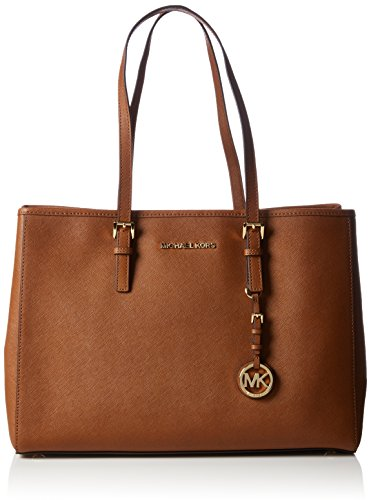 Michael KorsJet Set Travel Saffiano Leather Tote - Borsa con Maniglia Donna, Colore Marrone(Braun 230), Taglia 37x26x15 cm (B x H x T)