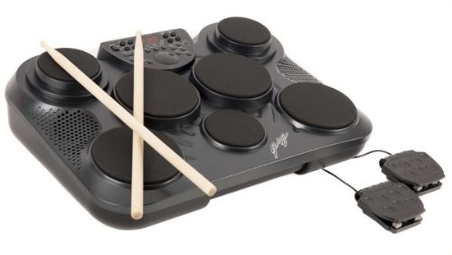 7 Pad Portable Digital Electronic Drum Machine w/ Headphone Socket inc. Footpedals and Drum Sticks
