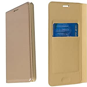Americhome Premium PU Leather Cash pocket Flip Cover for Reliance LYF wind 6 (GOLD)
