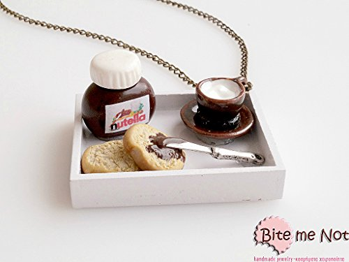 Mini Food Nutella Breakfast Necklace, Miniature Food Jewelry, Polymer Clay Sweets, Handmade Necklace, Dollhouse Miniatures, Gift, Kawaii
