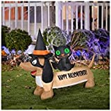 HALLOWEEN INFLATABLE 5' HAPPY HALLOWIENER DOG WITH BLACK CAT BY GEMMY