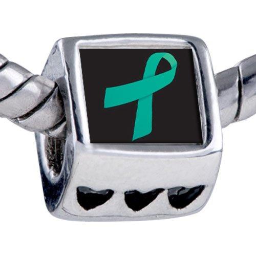 Mothers Day Charms Pugster® Pandora Style Bead Teal Ribbon Awareness Beads Fits Pandora Bracelet