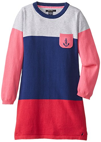 Nautica Big Girls' Color Block Sweater Dress With Intarsia Anchor Chest Pocket, Medium Navy, 10 front-1030878