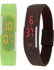 Zeno LED Band Green Brown Combo Unisex Wrist Watch