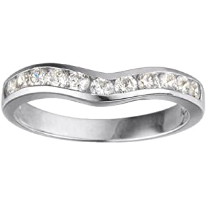 0.1 crt Cubic Zirconia Mounted In Sterling Silver. Classic Contour Wedding Ring.