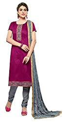 Khoobee Presents Embroidered Bhagalpuri Dress Material(Magenta,Grey)