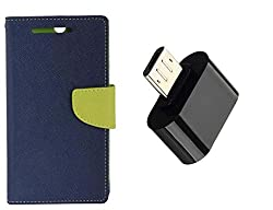 Novo Style Book Style Folio Wallet Case MicromaxCanvas 2A120 Blue + Little Adapter Micro USB OTG to USB 2.0 Adapter for Smartphones & Tablets