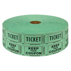 Two (2) Rolls of Two-part Green Double Roll Raffle Tickets Totaling 4,000 Tickets (Two Part Raffle Tickets compare prices)