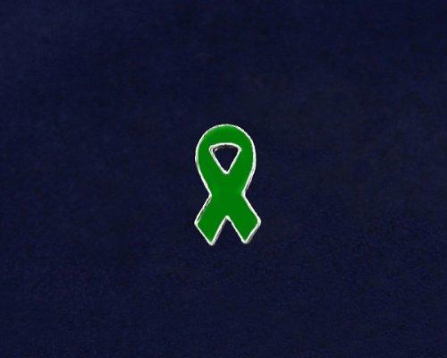 Green Ribbon Pin - Small Flat Ribbon Pin (50 Pins)