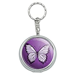 Portable Pocket Purse Ashtray Keychain Insects Ladybug Butterfly Dragonfly - Butterfly Artsy Purple
