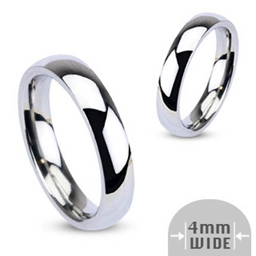 316L Stainless Steel 4mm Wide Glossy Mirror Polished Traditional Wedding Band Ring - Size 4.5