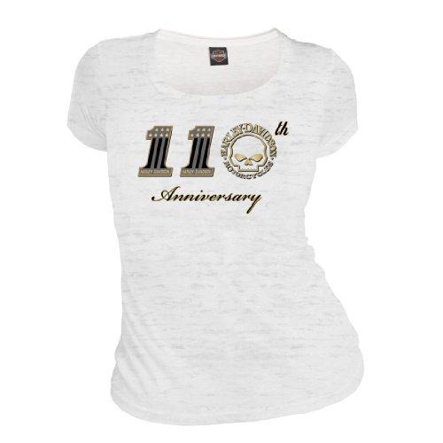 Harley-Davidson® Women's Script 110th Anniversary Commemorative White Short T-Shirt. House of Harley Graphics on Back. 302917720