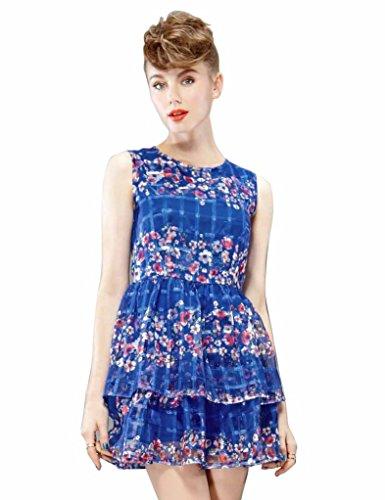 Elf Sack Womens Summer Dress Round Neck Sleeveless Plaid Jacquard Organza Large Size Blue