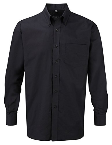 russells-mens-l-slv-oxf-shirt-in-black-neck-size-17
