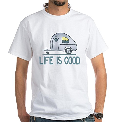 CafePress - Life Is Good Camper T-Shirt - 100% Cotton T-Shirt, Crew Neck, Comfortable and Soft Classic White Tee with Unique Design (Men Camper Life Is Good compare prices)