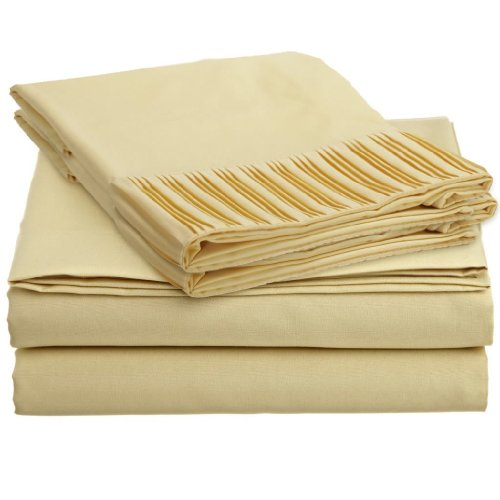 "Matisse New York® Premium Quality Microfiber Pleated Bed Sheet Set Luxurious Silky Soft Wrinkle Free & Fade Resistant 4 Pc Sheet Set, Deep Pocket Up To 16"" - All Size And Colors (Camel, Queen) front-1060146"