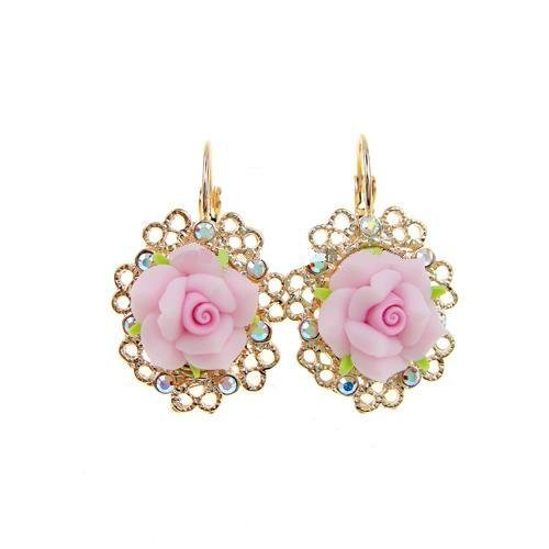 Vintage Pink Poly Clay Flower Earrings (Champagne Gold Pink)