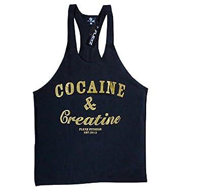 COCAINE & CREATINE Singlet Stringer, Vest Bodybuilding Racerback Y-Back