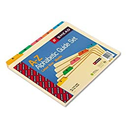 Recycled Top Tab File Guides, Alpha, 1/5 Tab, Manila/Poly, Letter, 25/Set