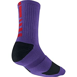 Nike Elite Basketball Crew Sock (COURT PURPLE/BLACK//UNIVERSITY RED, Small)