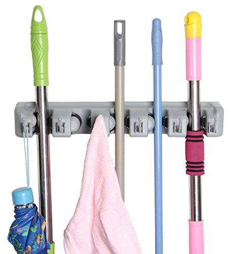 vivohome-wall-mounted-mop-and-broom-holder-organizer-garage-storage-systems-5-position-6-hooks