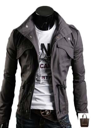 (アーバンセレクト) Urban Select ミリタリージャケット カーキ メンズ ネイビー 迷彩 黒 AI-1722(エコバッグセット) (L, チャコール)
