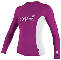 O\'Neill Wetsuits Women\'s Skins Long Sleeve Crew, Fest/White, X-Small