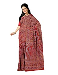 Fabdeal Indian Bollywood Red Cotton Printed Saree-QBPSR322MR