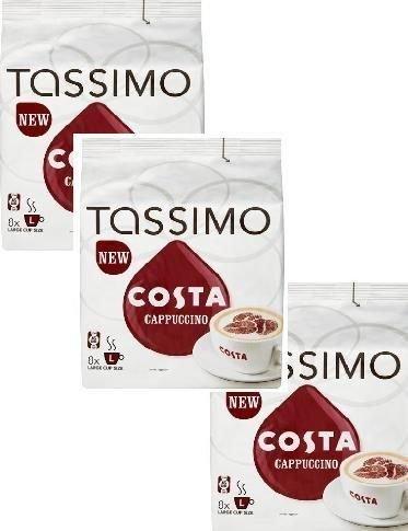 Tassimo Costa Cappuccino X3 Packs Total 48 T Discs Capsules (Tassimo Vanilla Coffee compare prices)