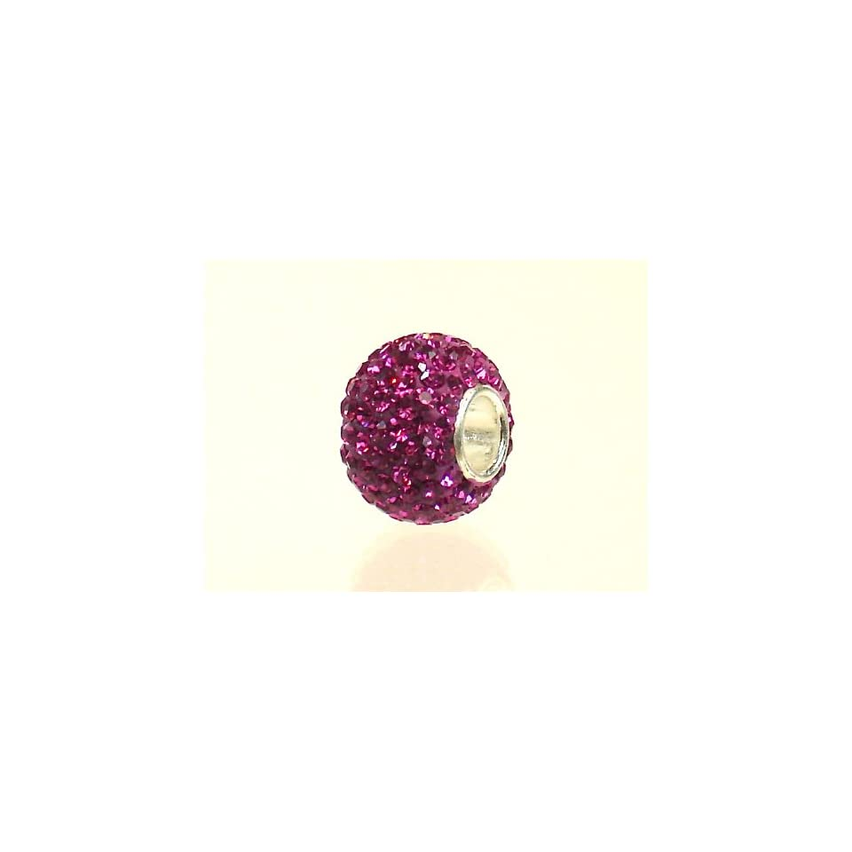 Authentic 925 Sterling Silver Fuchsia 130 Swarovski Crystal Bead Charm Fits Pandora