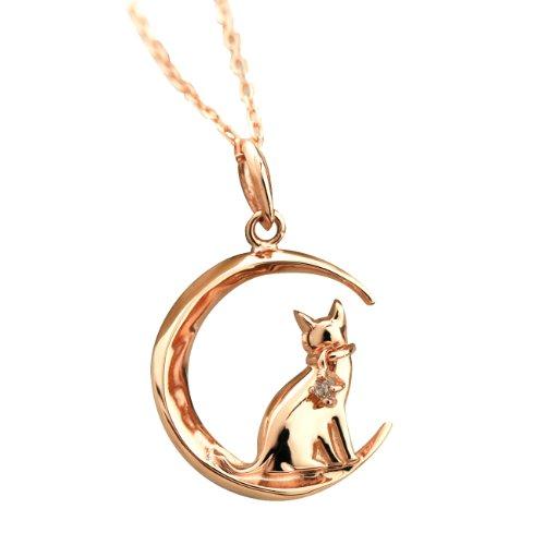 ダイヤモンド ネックレス K10ピンクゴールド ペンダント K10PG 4月の誕生石 0.01ct 猫 ネコ ねこ 【ギフトラッピング済み】