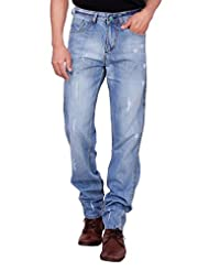 Kavis Mid Waist Light Blue Colored Light Blue Colored Slim Fit Men's Jeans