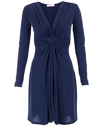 KRISP®-Robe Drapée Manches Longues (36, Bleu marine)
