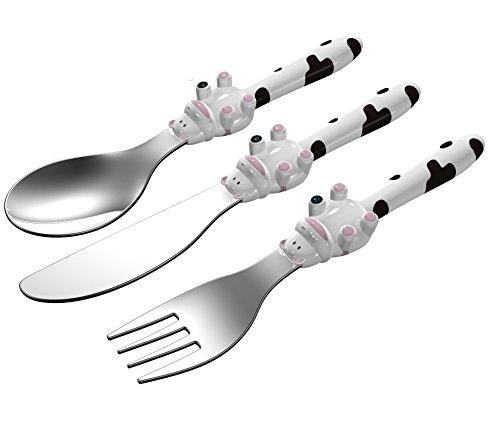 EXZACT in acciaio inox per bambini Posate 3 pezzi Set - 1 x forchetta, 1 x coltelli, 1 x Cucchiai Cena (Mucca Bianca x 3)