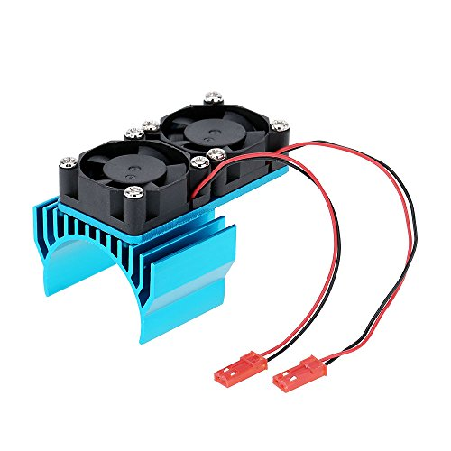 540 550 Motor Heat Sink with Double Fan Cooling for 1/10 HSP RC Car Blue (540 Motor Cooling Fan compare prices)