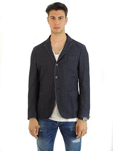 Paoloni giacca uomo monopetto in cotone fantasia pied de poule G507TW131599 (50, BLU)