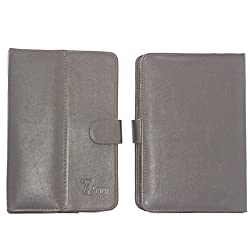 7&Seven G12 Pure Leather Flip Flap Case Cover Pouch Carry Stand For Iball Slide 6318I Case Dark Brown