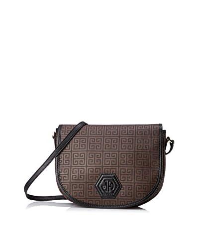 Jonathan Adler Women's Isabella Greek Key Print Medium Saddle Bag, Black/Chocolate